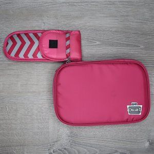 CABOODLES soft pink and gray chevron makeup bag